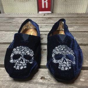 TOM'S Velvet Embroidered Skull Slip On Loafer